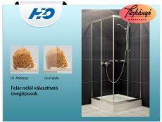 H2O Projecta szögletes zuhanykabin, 80x80 cm