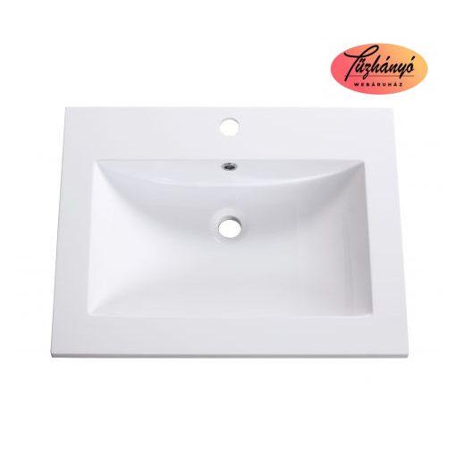 Sanotechnik ráépíthető, öntött márvány mosdó, 60x46x11,2 cm, D6046