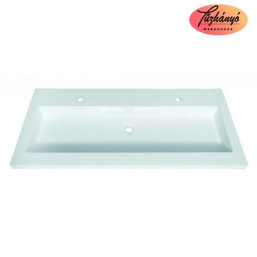 Sanotechnik ráépíthető, öntött márvány dupla mosdó, 120x51,5x12,5 cm, D1200
