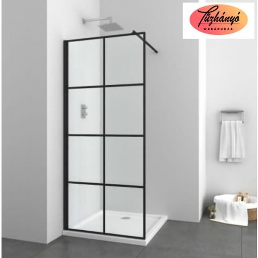 Sanotechnik Elite Black zuhanyfal, 90x195 cm, EN9006B