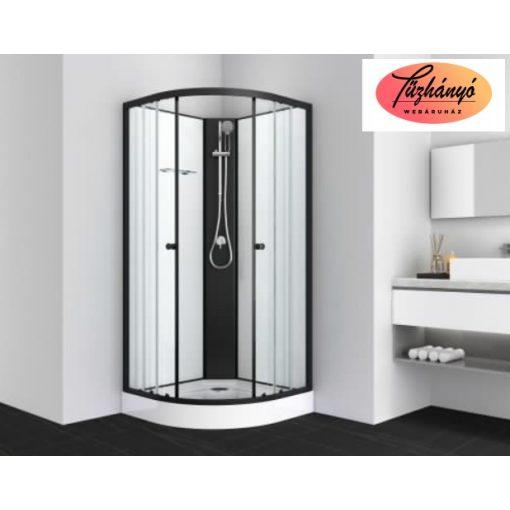 Sanotechnik BALATON 1 komplett zuhanykabin, íves, fekete, 80x80 cm, PS10B