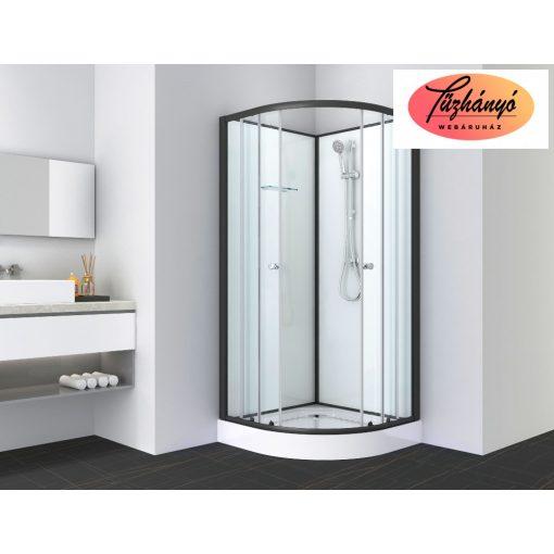 Sanotechnik BELA 1 komplett zuhanykabin, íves, fekete, 80x80 cm, PS12B