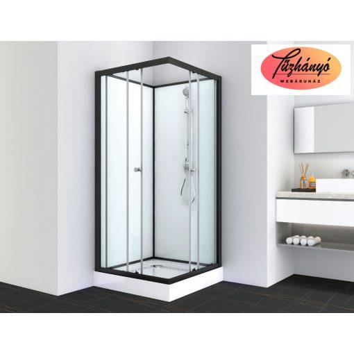 Sanotechnik UNI 1 komplett zuhanykabin, szögletes, fekete, 80x80 cm, PS14B